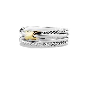 David Yurman Gold X crossover ring